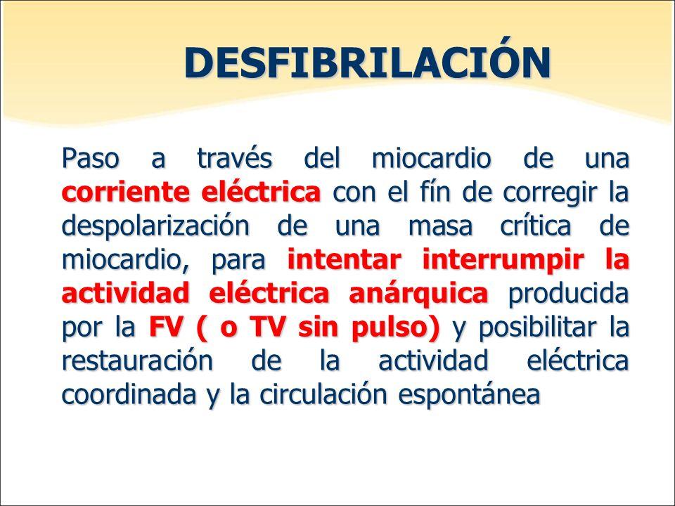 DESFIBRILACIÓN Paso a través del miocardio de una corriente eléctrica con el fín de corregir la despolarización de una masa crítica de miocardio, para