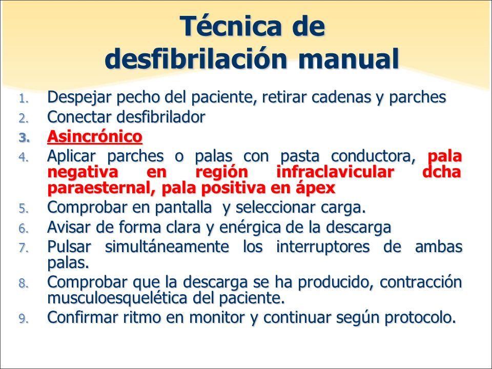 Técnica de desfibrilación manual 1. Despejar pecho del paciente, retirar cadenas y parches 2. Conectar desfibrilador 3. Asincrónico 4. Aplicar parches