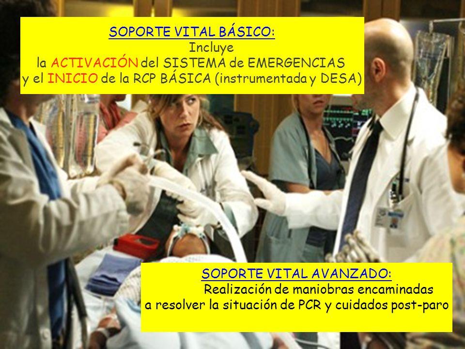 SOPORTE VITAL BÁSICO: Incluye la ACTIVACIÓN del SISTEMA de EMERGENCIAS y el INICIO de la RCP BÁSICA (instrumentada y DESA) SOPORTE VITAL AVANZADO: Rea