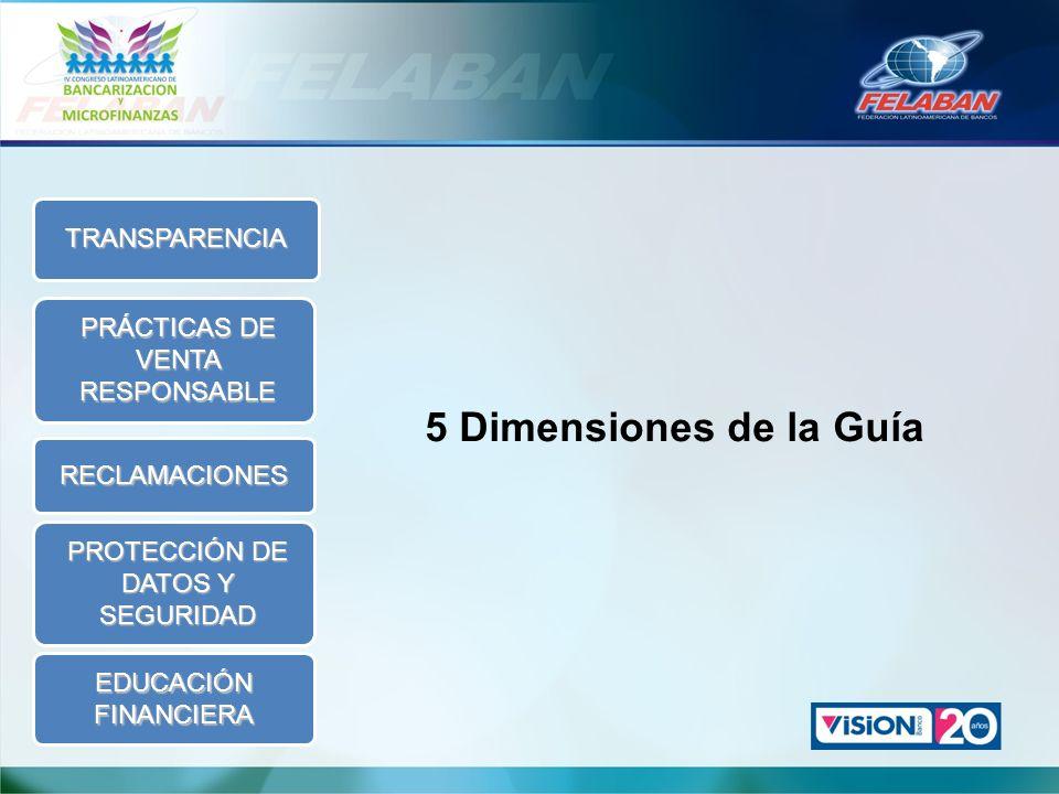 5 Dimensiones de la Guía TRANSPARENCIA PRÁCTICAS DE VENTA RESPONSABLE RECLAMACIONES PROTECCIÓN DE DATOS Y SEGURIDAD EDUCACIÓN FINANCIERA