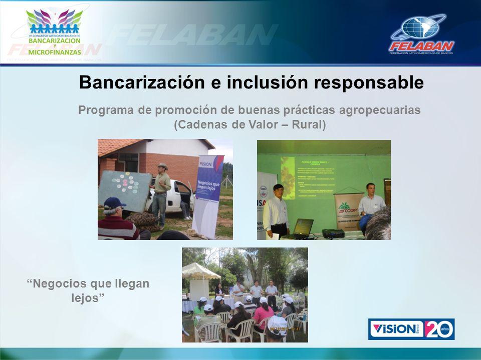 Bancarización e inclusión responsable Programa de promoción de buenas prácticas agropecuarias (Cadenas de Valor – Rural) Negocios que llegan lejos