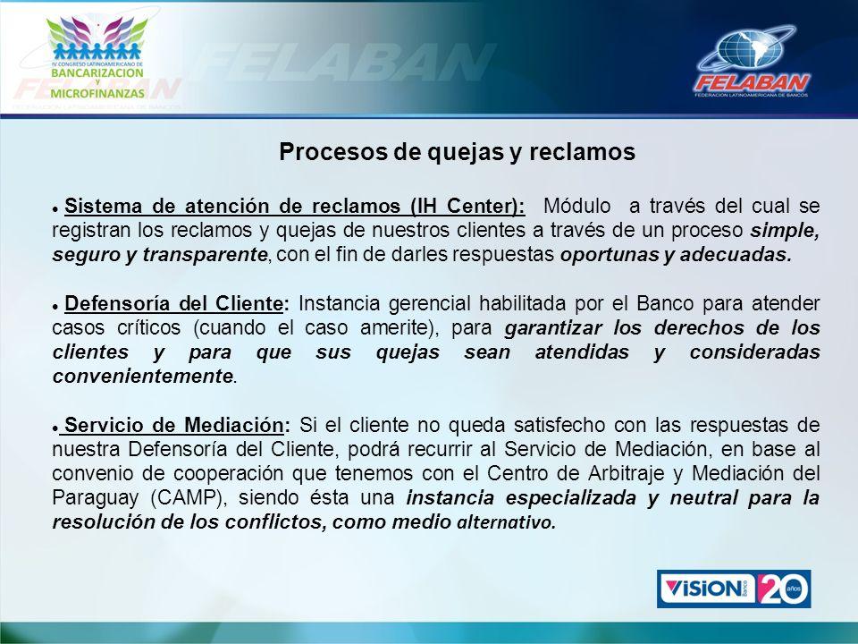 Procesos de quejas y reclamos Sistema de atención de reclamos (IH Center): Módulo a través del cual se registran los reclamos y quejas de nuestros cli