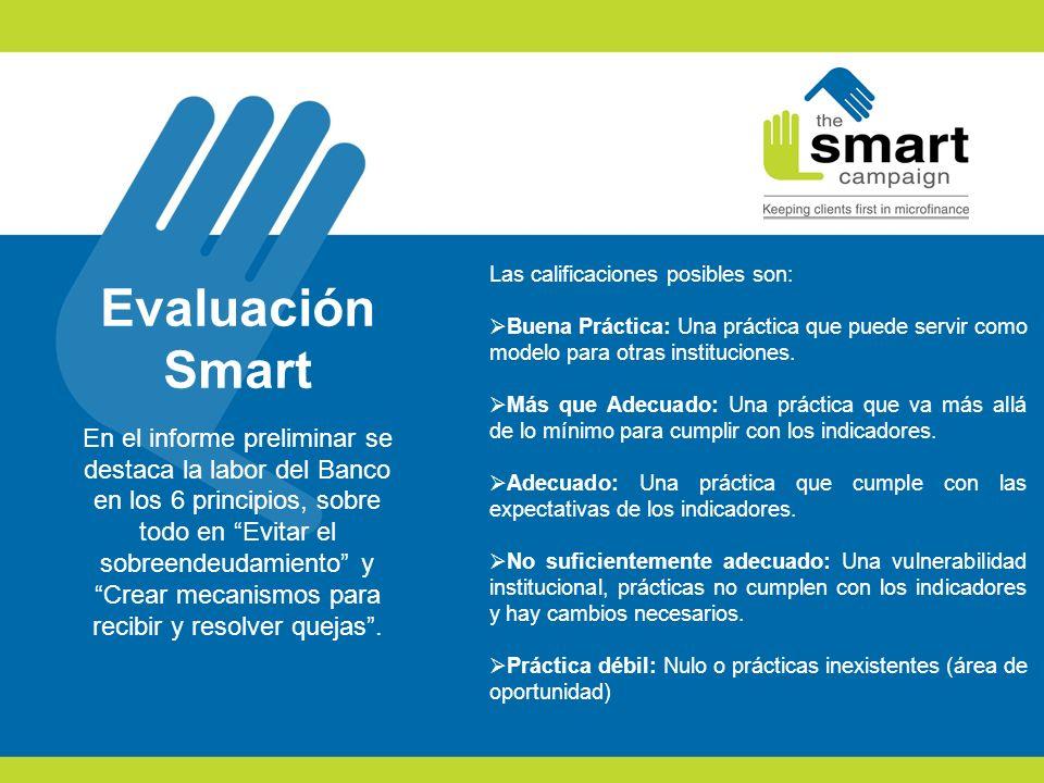 Evaluación Smart En el informe preliminar se destaca la labor del Banco en los 6 principios, sobre todo en Evitar el sobreendeudamiento yCrear mecanis