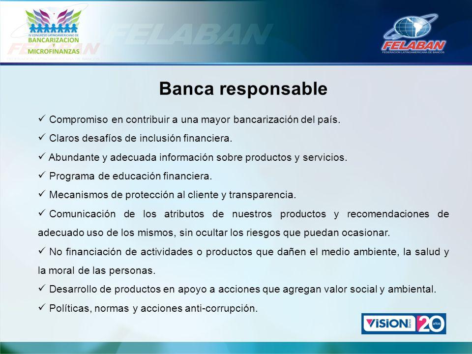 Banca responsable Compromiso en contribuir a una mayor bancarización del país. Claros desafíos de inclusión financiera. Abundante y adecuada informaci