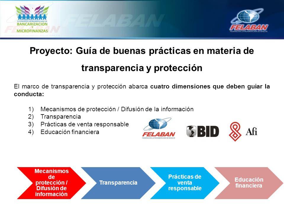Proyecto: Guía de buenas prácticas en materia de transparencia y protección El marco de transparencia y protección abarca cuatro dimensiones que deben