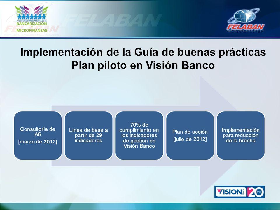 Implementación de la Guía de buenas prácticas Plan piloto en Visión Banco