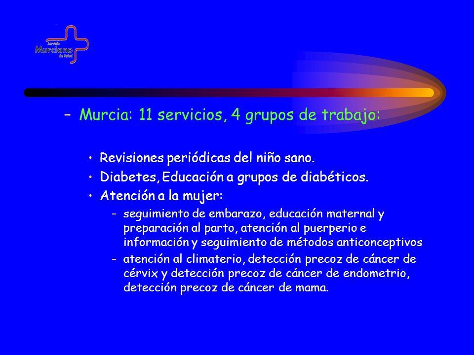 –Murcia: 11 servicios, 4 grupos de trabajo: Revisiones periódicas del niño sano. Diabetes, Educación a grupos de diabéticos. Atención a la mujer: –seg