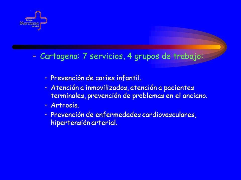 –Cartagena: 7 servicios, 4 grupos de trabajo: Prevención de caries infantil. Atención a inmovilizados, atención a pacientes terminales, prevención de