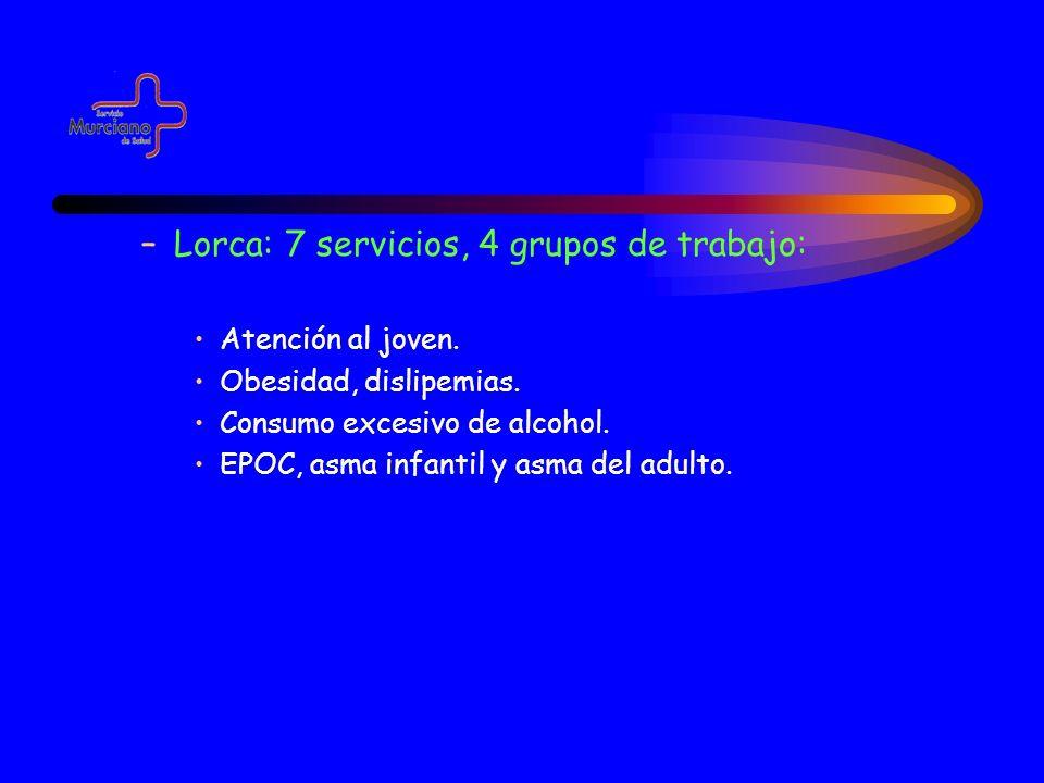 –Lorca: 7 servicios, 4 grupos de trabajo: Atención al joven. Obesidad, dislipemias. Consumo excesivo de alcohol. EPOC, asma infantil y asma del adulto