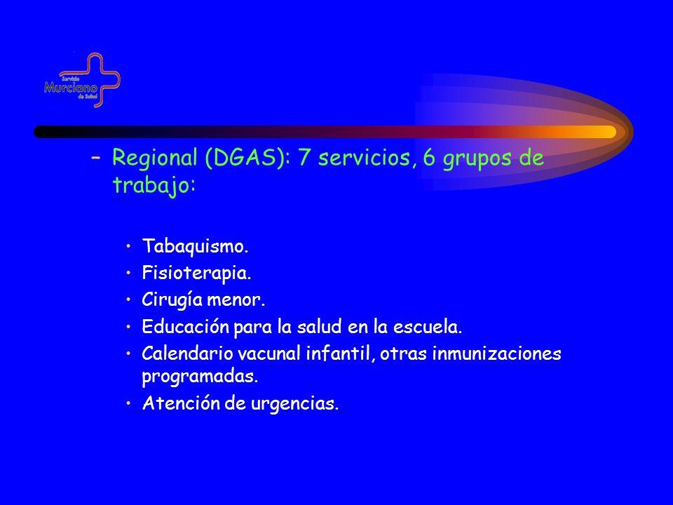 –Regional (DGAS): 7 servicios, 6 grupos de trabajo: Tabaquismo. Fisioterapia. Cirugía menor. Educación para la salud en la escuela. Calendario vacunal