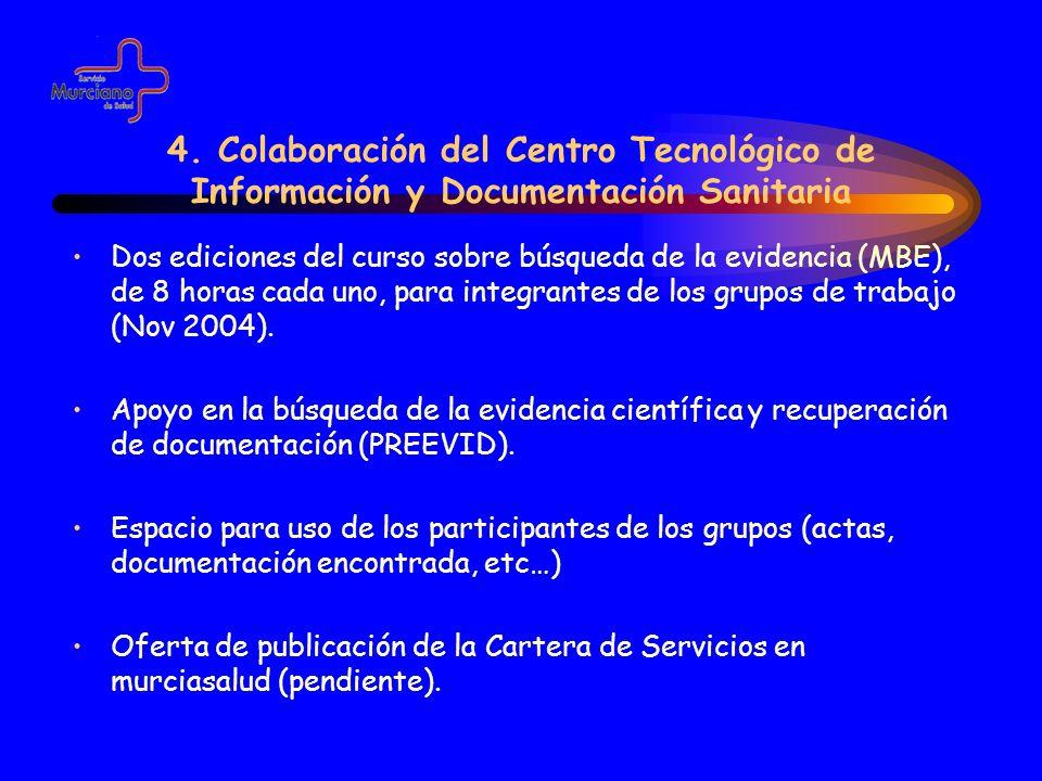 4. Colaboración del Centro Tecnológico de Información y Documentación Sanitaria Dos ediciones del curso sobre búsqueda de la evidencia (MBE), de 8 hor