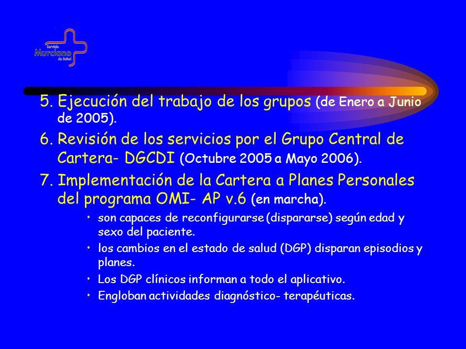 5. Ejecución del trabajo de los grupos (de Enero a Junio de 2005). 6. Revisión de los servicios por el Grupo Central de Cartera- DGCDI (Octubre 2005 a