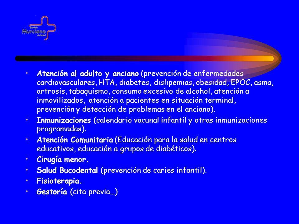 Atención al adulto y anciano (prevención de enfermedades cardiovasculares, HTA, diabetes, dislipemias, obesidad, EPOC, asma, artrosis, tabaquismo, con