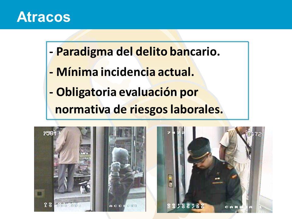 Atracos - Paradigma del delito bancario. - Mínima incidencia actual. - Obligatoria evaluación por normativa de riesgos laborales.