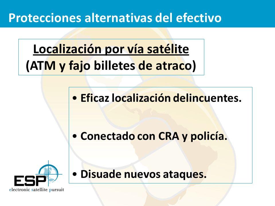 Localización por vía satélite (ATM y fajo billetes de atraco) Eficaz localización delincuentes. Conectado con CRA y policía. Disuade nuevos ataques. P