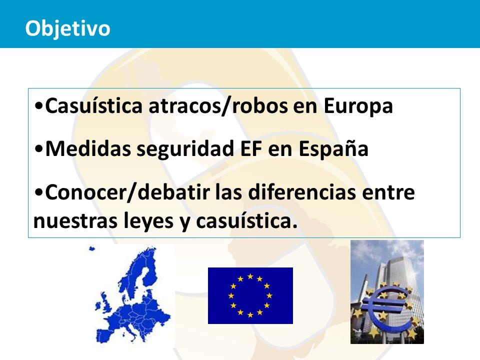 Casuística atracos/robos en Europa Medidas seguridad EF en España Conocer/debatir las diferencias entre nuestras leyes y casuística. Objetivo