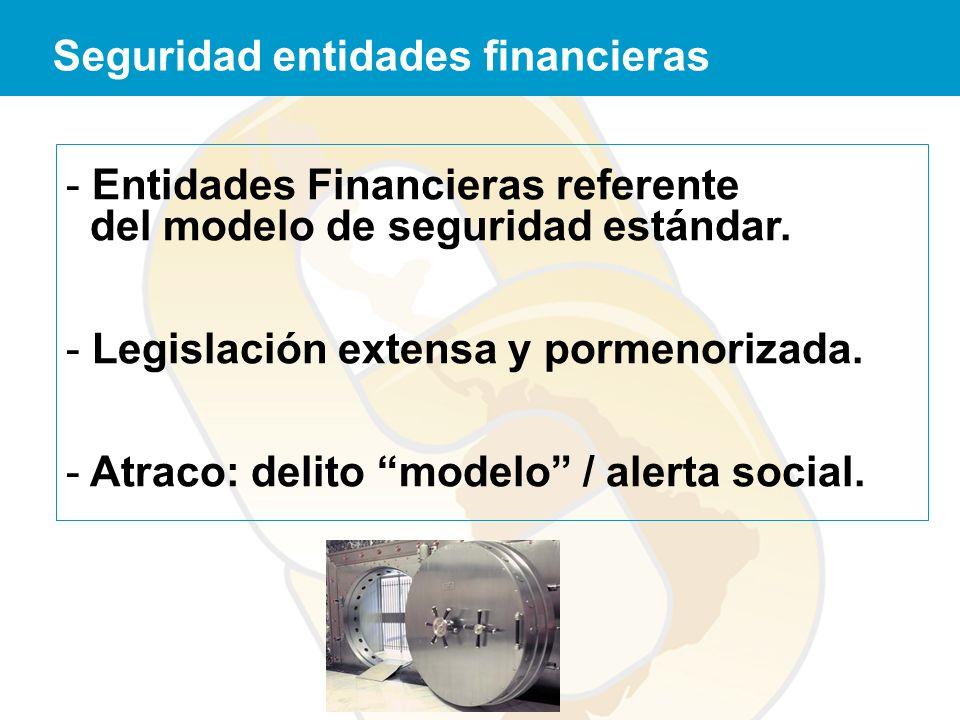 - Entidades Financieras referente del modelo de seguridad estándar. - Legislación extensa y pormenorizada. - Atraco: delito modelo / alerta social. Se