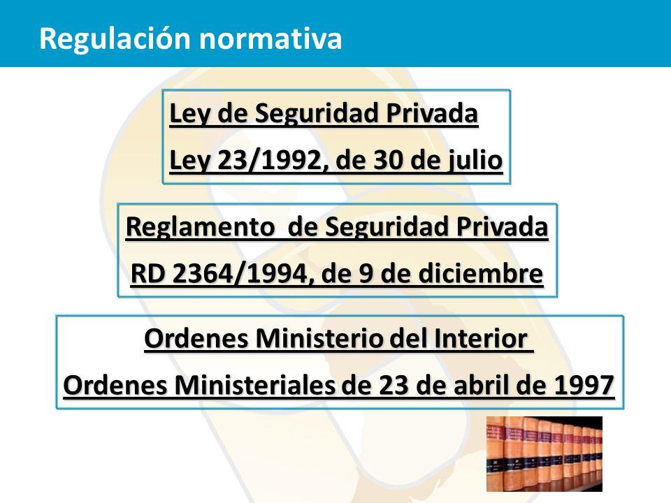 Regulación normativa Ley de Seguridad Privada Ley 23/1992, de 30 de julio Reglamento de Seguridad Privada RD 2364/1994, de 9 de diciembre Ordenes Mini