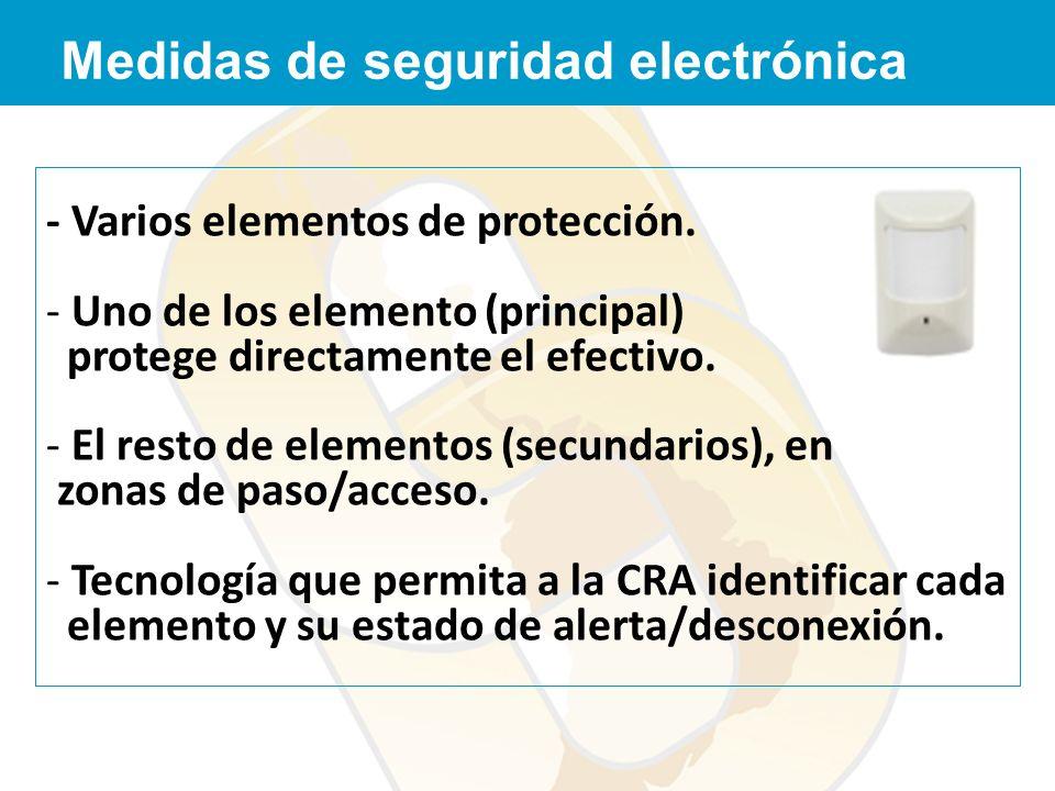 - Varios elementos de protección. - Uno de los elemento (principal) protege directamente el efectivo. - El resto de elementos (secundarios), en zonas
