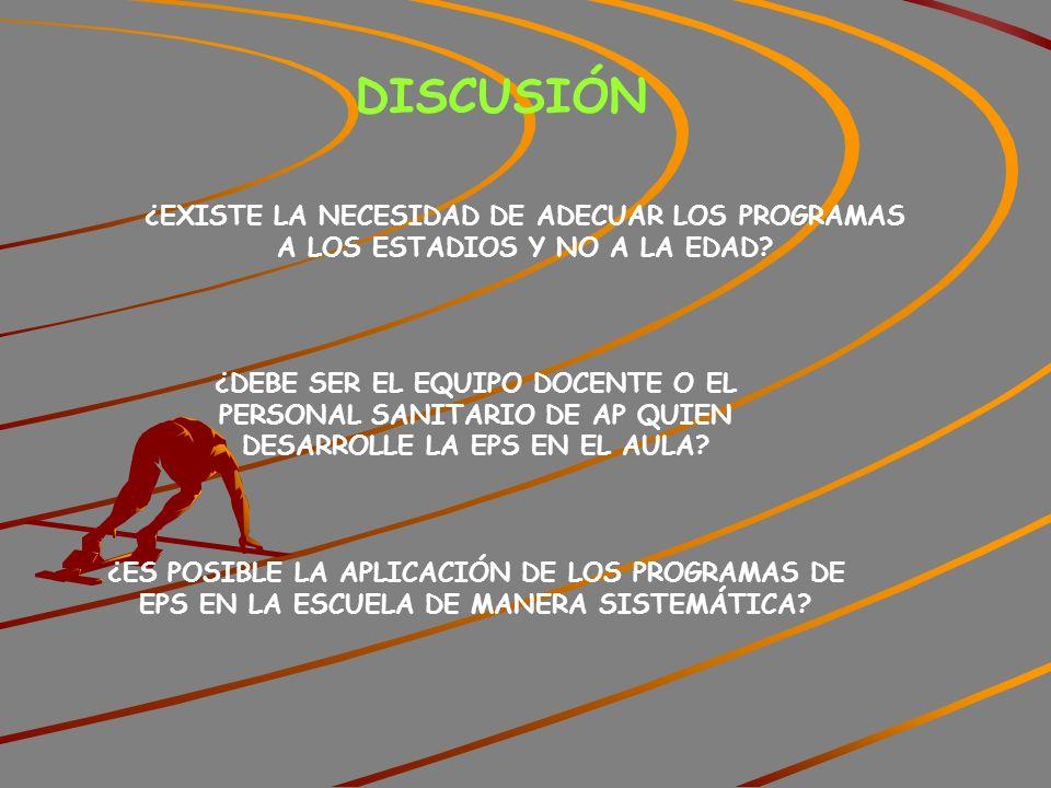 DISCUSIÓN ¿EXISTE LA NECESIDAD DE ADECUAR LOS PROGRAMAS A LOS ESTADIOS Y NO A LA EDAD.