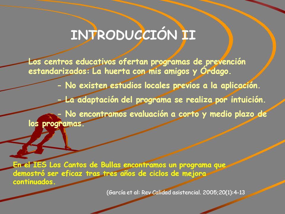 INTRODUCCIÓN II Los centros educativos ofertan programas de prevención estandarizados: La huerta con mis amigos y Órdago.