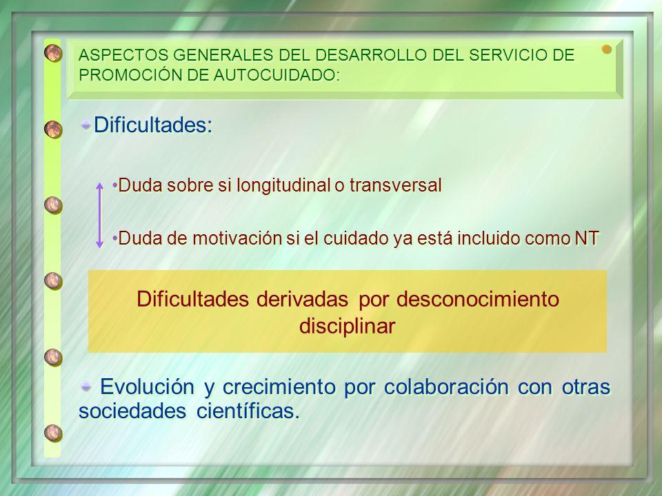 Dificultades: Duda sobre si longitudinal o transversal Duda de motivación si el cuidado ya está incluido como NT Evolución y crecimiento por colaborac