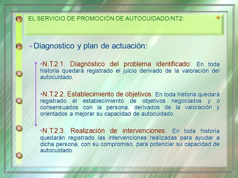 Diagnostico y plan de actuación: N.T.2.1. Diagnóstico del problema identificado: En toda historia quedará registrado el juicio derivado de la valoraci
