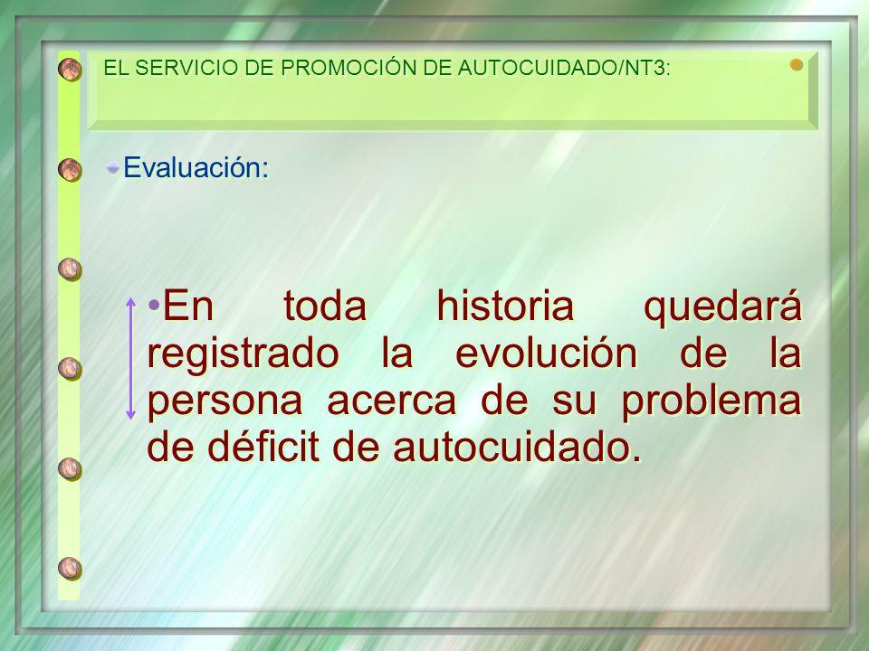 Evaluación: En toda historia quedará registrado la evolución de la persona acerca de su problema de déficit de autocuidado. Evaluación: En toda histor