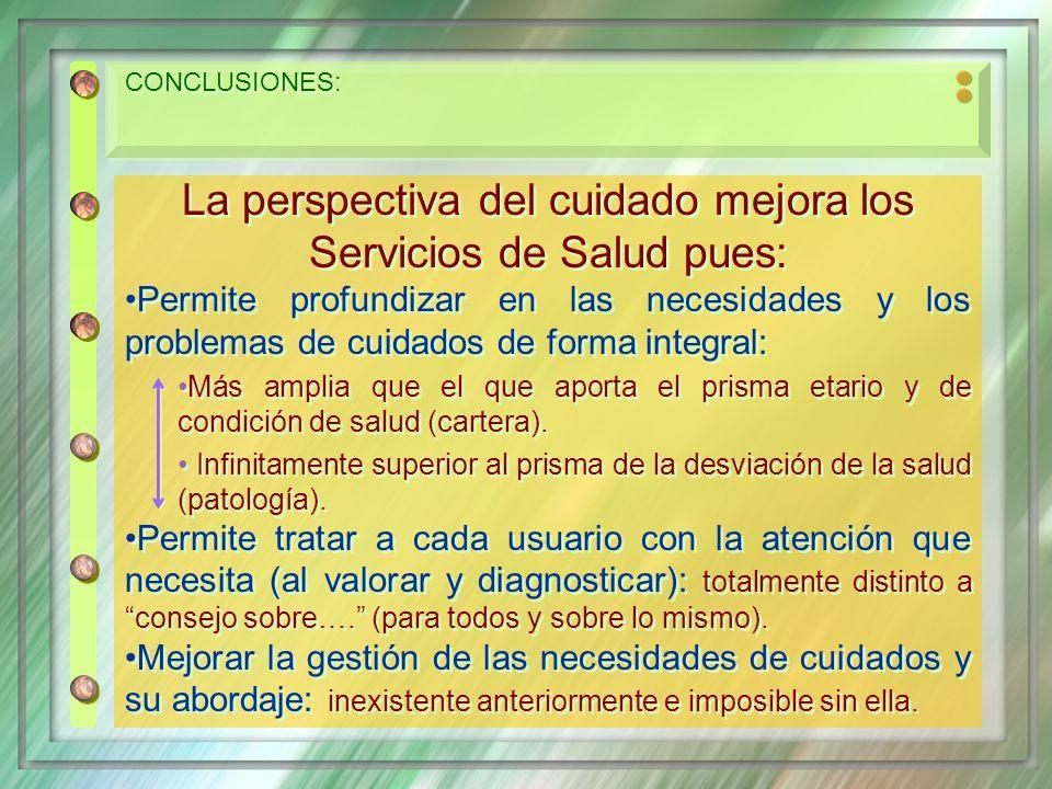 CONCLUSIONES: La perspectiva del cuidado mejora los Servicios de Salud pues: Permite profundizar en las necesidades y los problemas de cuidados de for