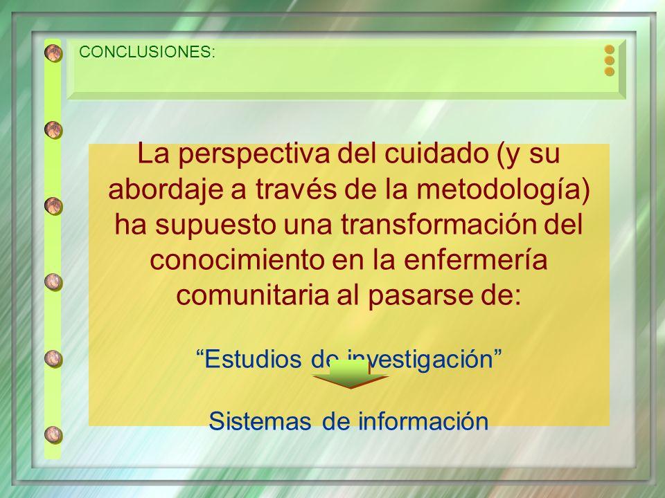 CONCLUSIONES: La perspectiva del cuidado (y su abordaje a través de la metodología) ha supuesto una transformación del conocimiento en la enfermería c