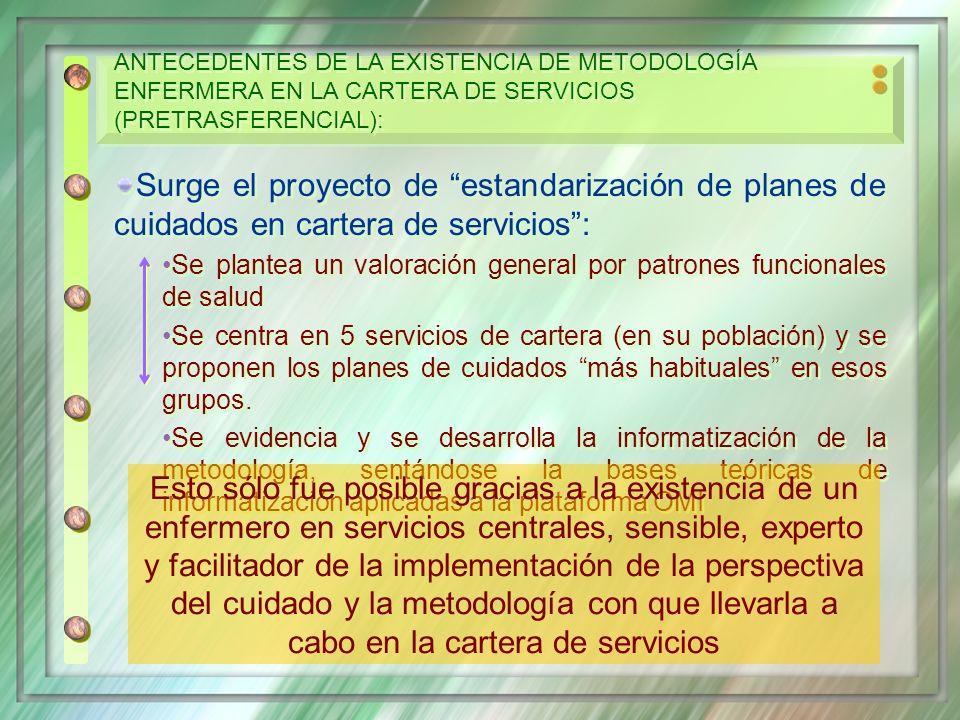 Surge el proyecto de estandarización de planes de cuidados en cartera de servicios: Se plantea un valoración general por patrones funcionales de salud