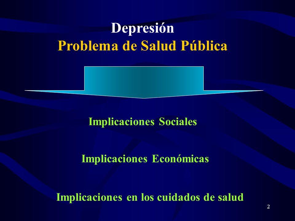 2 Depresión Problema de Salud Pública Implicaciones Sociales Implicaciones Económicas Implicaciones en los cuidados de salud