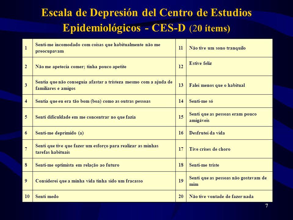 18 La análisis de componentes principales nos indicó cinco factores e a varianza total explicada ha sido 58,2%; De los ancianos estudiados (68) 81,9% han obtenido una puntuación en la CES-D, superior a 16, lo que nos informa acerca de los probables casos de depresión; Conclusiones