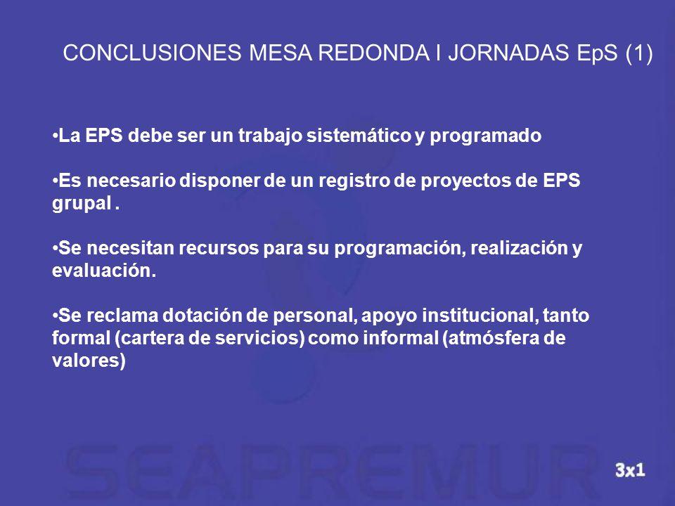 La EPS debe ser un trabajo sistemático y programado Es necesario disponer de un registro de proyectos de EPS grupal. Se necesitan recursos para su pro
