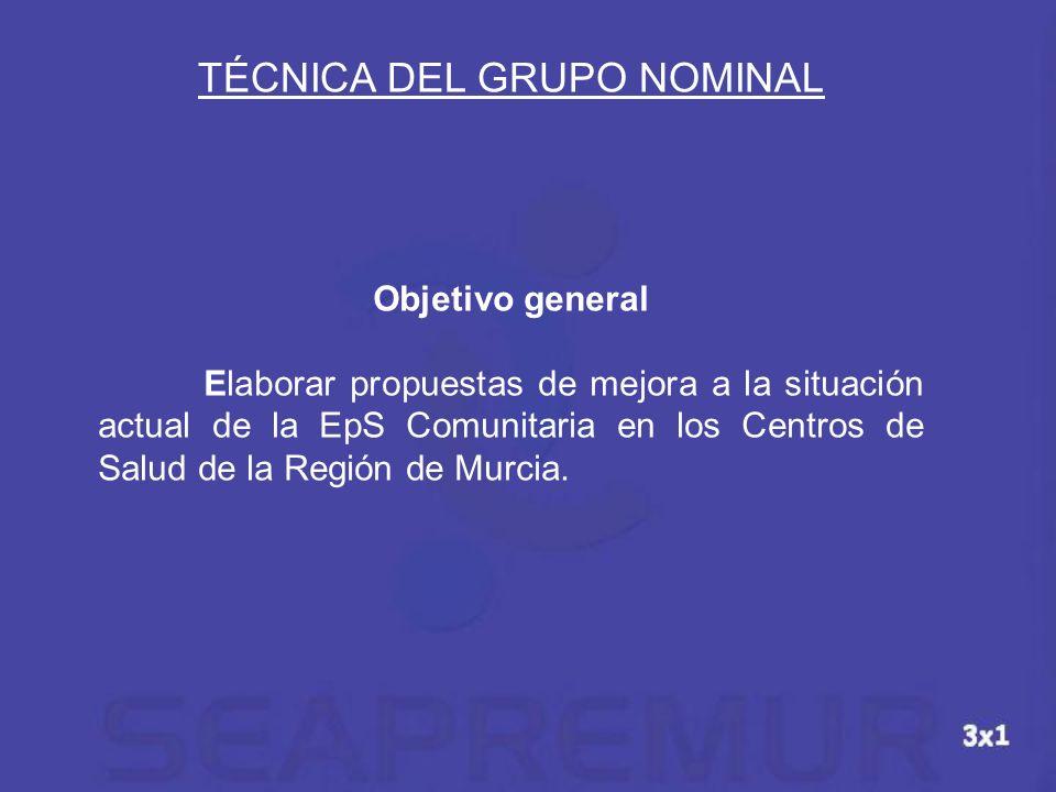 TÉCNICA DEL GRUPO NOMINAL Objetivo general Elaborar propuestas de mejora a la situación actual de la EpS Comunitaria en los Centros de Salud de la Reg