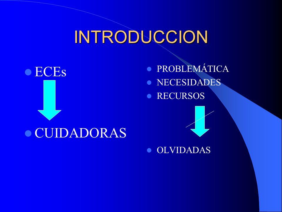 INTRODUCCION ECEs CUIDADORAS PROBLEMÁTICA NECESIDADES RECURSOS OLVIDADAS