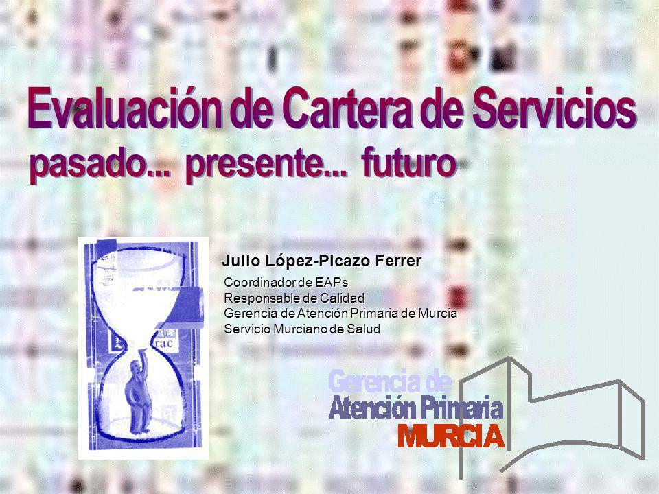 Julio López-Picazo Ferrer Coordinador de EAPs Responsable de Calidad Gerencia de Atención Primaria de Murcia Servicio Murciano de Salud Coordinador de