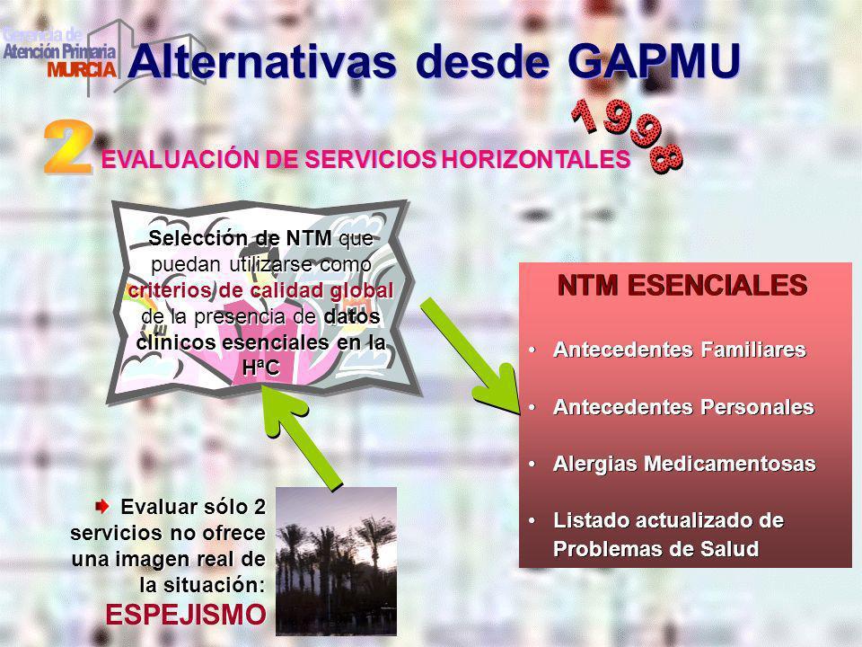 EVALUACIÓN DE SERVICIOS HORIZONTALES Alternativas desde GAPMU Evaluar sólo 2 servicios no ofrece una imagen real de la situación: ESPEJISMO Selección