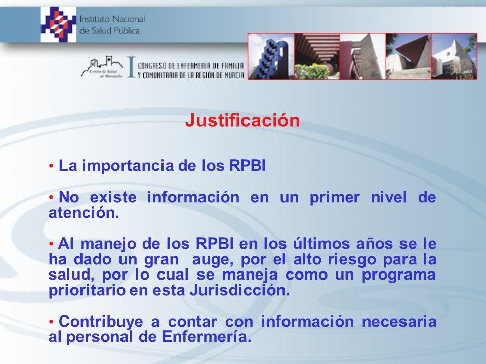 Justificación La importancia de los RPBI No existe información en un primer nivel de atención. Al manejo de los RPBI en los últimos años se le ha dado