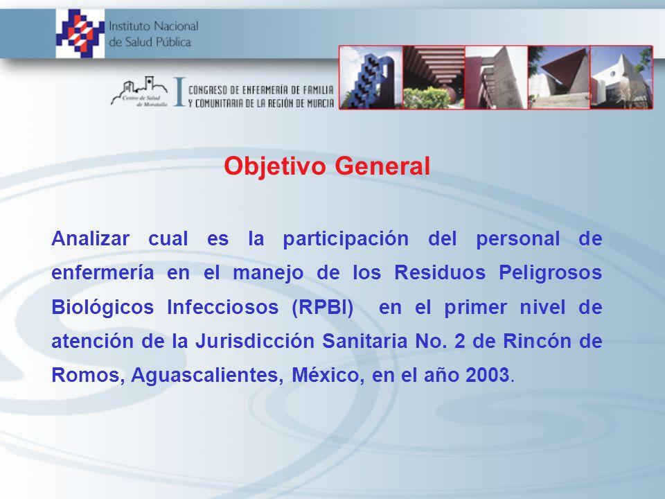 Objetivo General Analizar cual es la participación del personal de enfermería en el manejo de los Residuos Peligrosos Biológicos Infecciosos (RPBI) en