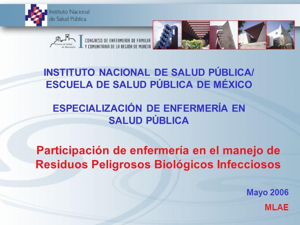 INSTITUTO NACIONAL DE SALUD PÚBLICA/ ESCUELA DE SALUD PÚBLICA DE MÉXICO ESPECIALIZACIÓN DE ENFERMERÍA EN SALUD PÚBLICA Participación de enfermería en