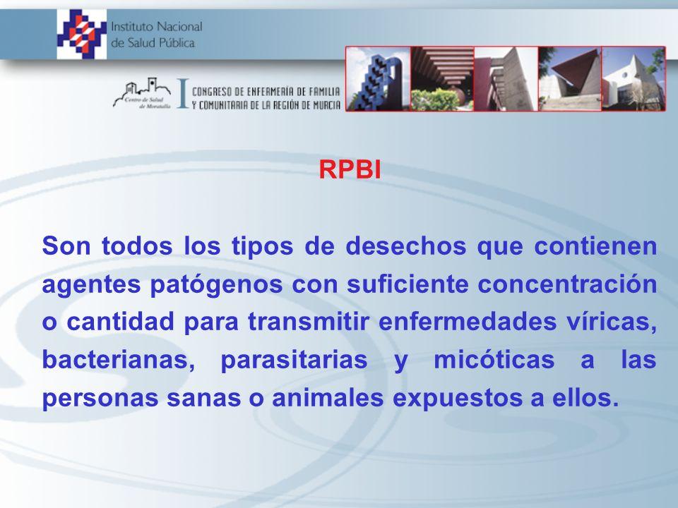 RPBI Son todos los tipos de desechos que contienen agentes patógenos con suficiente concentración o cantidad para transmitir enfermedades víricas, bac