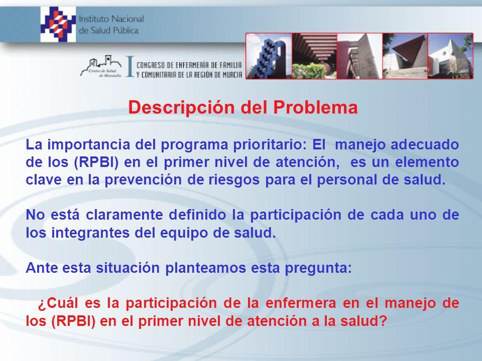 Descripción del Problema La importancia del programa prioritario: El manejo adecuado de los (RPBI) en el primer nivel de atención, es un elemento clav