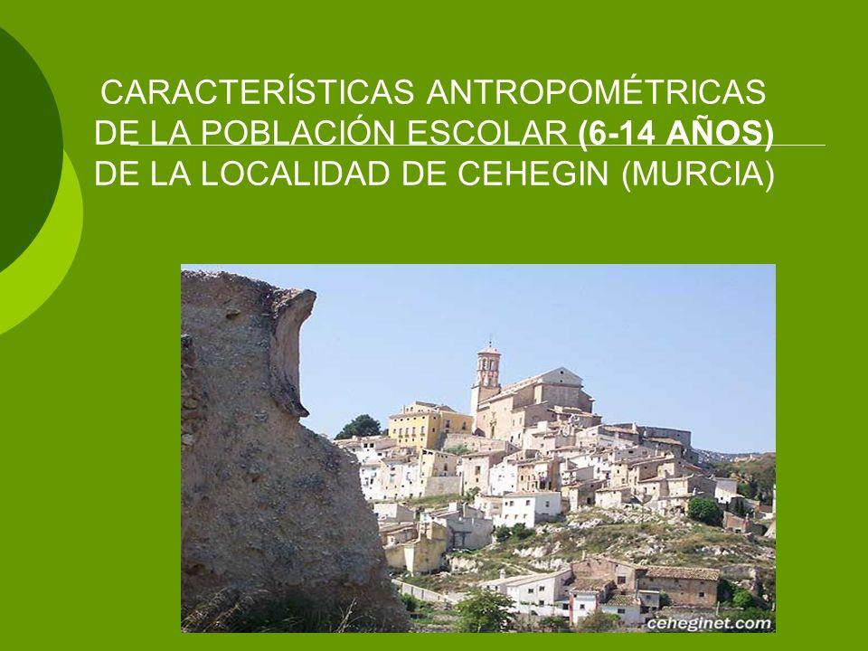 CARACTERÍSTICAS ANTROPOMÉTRICAS DE LA POBLACIÓN ESCOLAR (6-14 AÑOS) DE LA LOCALIDAD DE CEHEGIN (MURCIA)