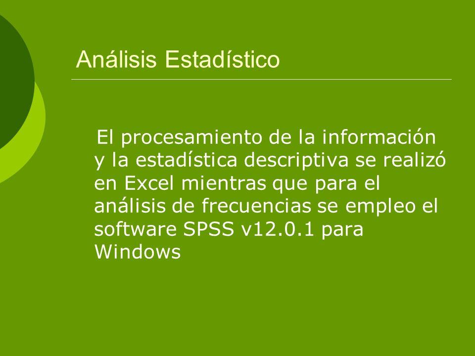 Análisis Estadístico El procesamiento de la información y la estadística descriptiva se realizó en Excel mientras que para el análisis de frecuencias