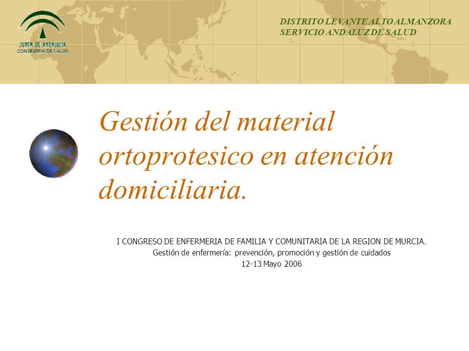 Gestión del material ortoprotesico en atención domiciliaria. I CONGRESO DE ENFERMERIA DE FAMILIA Y COMUNITARIA DE LA REGION DE MURCIA. Gestión de enfe