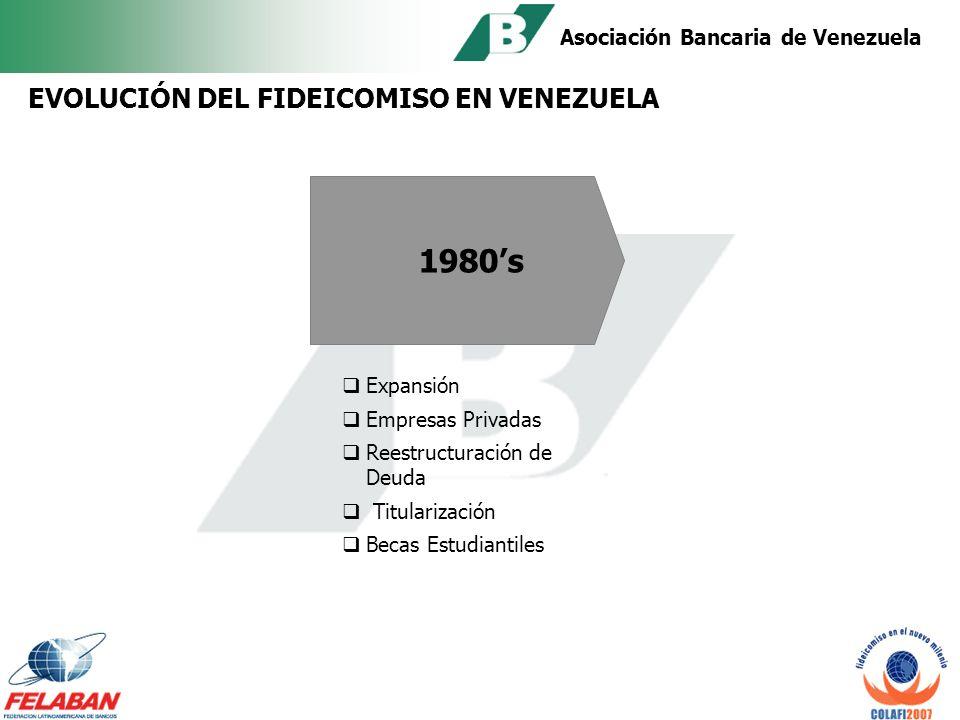 Asociación Bancaria de Venezuela Años 70s: Primer fideicomiso en Venezuela de corte laboral entre una empresa petrolera y una institución financiera.