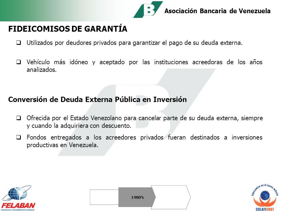 Asociación Bancaria de Venezuela Crecimiento importante en la promoción de clubes sociales, vacacionales y edificaciones residenciales EMPRESAS PRIVADAS La Comisión Nacional de Valores reglamentó que la oferta pública de los desarrollos inmobiliarios, se hiciera con el respaldo de un contrato de fideicomiso.