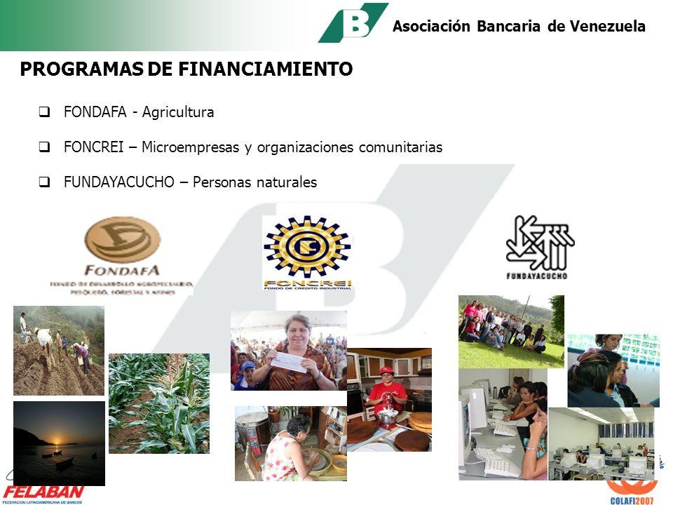 Asociación Bancaria de Venezuela COBERTURA DE EMERGENCIAS NACIONALES Administración de recursos destinados a la reconstrucción de zonas afectadas por desastres naturales Ayuda a damnificados Implementar programas de activación de vialidad, servicios públicos y escuelas