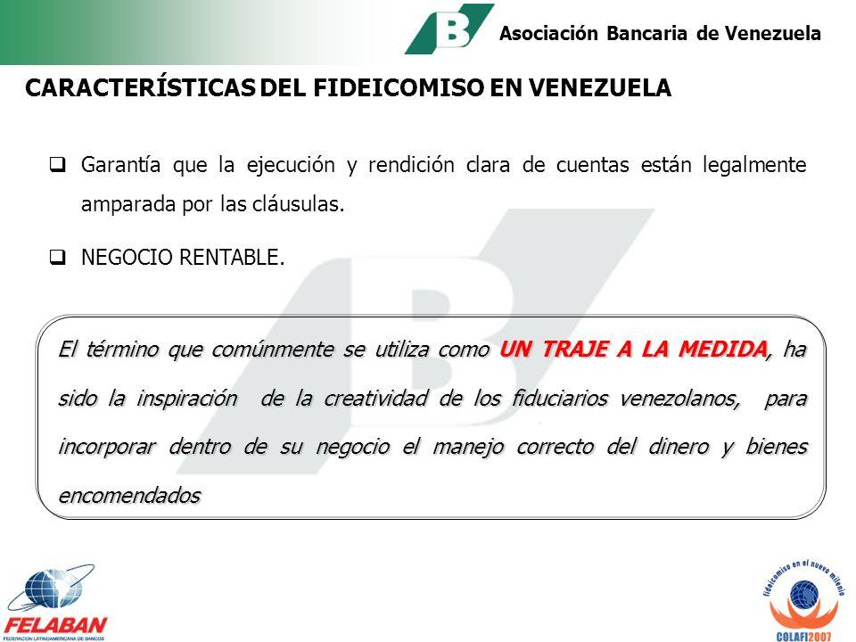 Asociación Bancaria de Venezuela Expansión progresiva y crecimiento de las diversas modalidades del Fideicomiso.